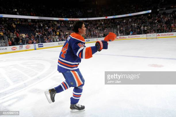 Nail Yakupov of the Edmonton Oilers celebrates his first hat trick during a game against the Vancouver Canucks on April 27 2013 at Rexall Place in...