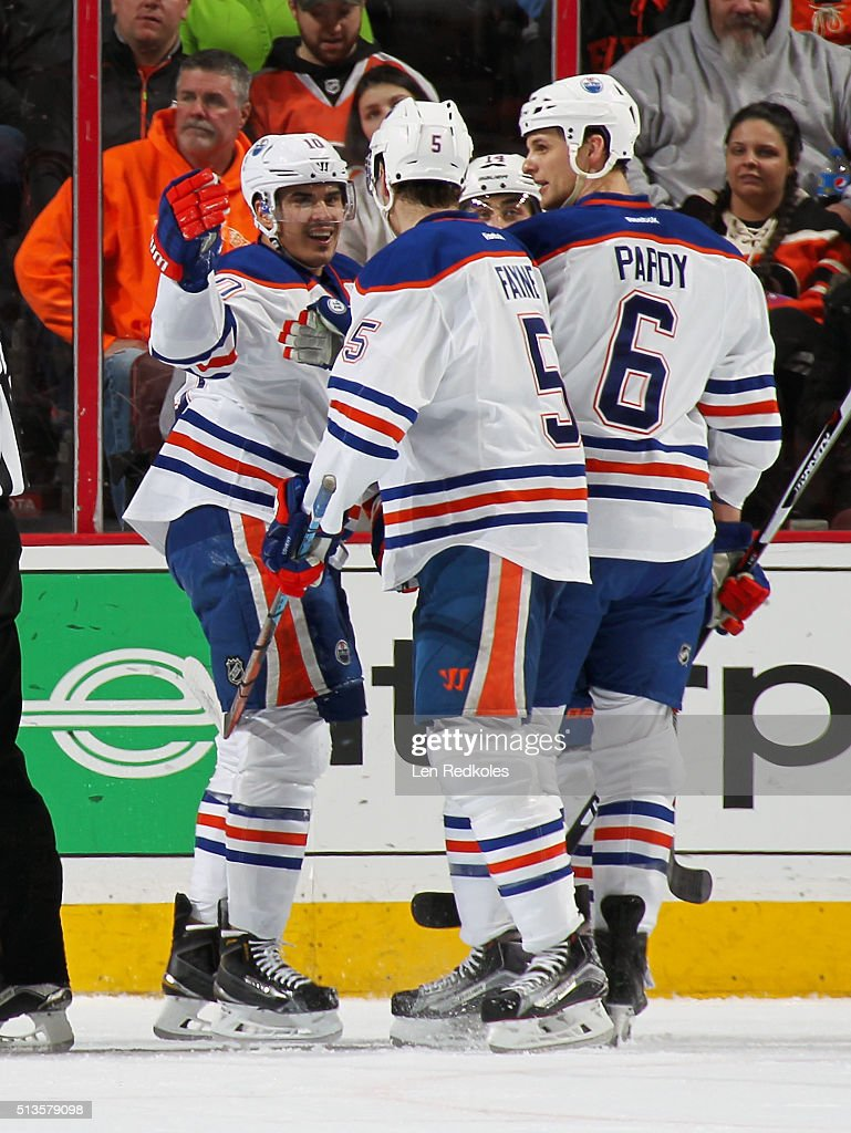 Nail Yakupov #10 of the Edmonton Oilers celebrates his first period goal against the Philadelphia Flyers with teammates Mark Fayne #5, Jordan Eberle #14, and Adam Pardy #6 on March 3, 2016 at the Wells Fargo Center in Philadelphia, Pennsylvania.