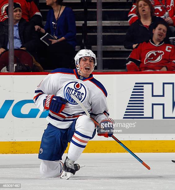 Nail Yakupov of the Edmonton Oilers celebrates his powerplay goal at 1245 of the second period against the New Jersey Devils at the Prudential Center...