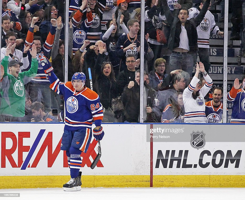 <a gi-track='captionPersonalityLinkClicked' href=/galleries/search?phrase=Nail+Yakupov&family=editorial&specificpeople=7419136 ng-click='$event.stopPropagation()'>Nail Yakupov</a> #64 of the Edmonton Oilers celebrates his third period against the Phoenix Coyotes at Rexall Place on April 10, 2013 in Edmonton, Canada.