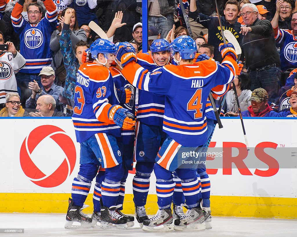 <a gi-track='captionPersonalityLinkClicked' href=/galleries/search?phrase=Nail+Yakupov&family=editorial&specificpeople=7419136 ng-click='$event.stopPropagation()'>Nail Yakupov</a> #64 of the Edmonton Oilers celebrates scoring his team's fifth goal against the Columbus Blue Jackets during an NHL game at Rexall Place on November 19, 2013 in Edmonton, Alberta, Canada.