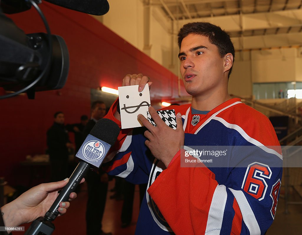 Nail Yakupov #64 of the Edmonton Oilers clowns around for the media at the 2012 NHLPA rookie showcase at the MasterCard Centre on August 28, 2012 in Toronto, Canada.