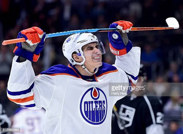 Nail Yakupov of the Edmonton Oilers reacts after a missed chance to score during the third period of a 21 loss to the Los Angeles Kings at Staples...
