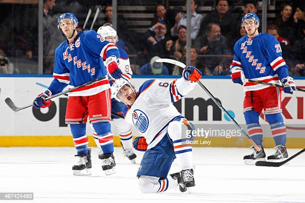 Nail Yakupov of the Edmonton Oilers reacts after his thirdperiod goal against the New York Rangers at Madison Square Garden on February 6 2014 in New...