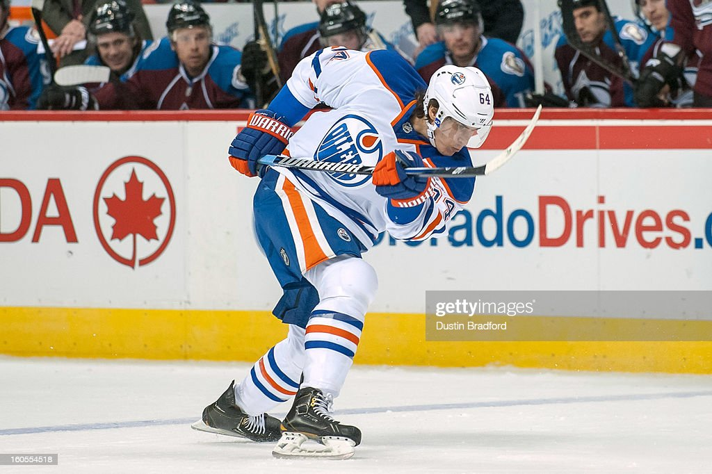 <a gi-track='captionPersonalityLinkClicked' href=/galleries/search?phrase=Nail+Yakupov&family=editorial&specificpeople=7419136 ng-click='$event.stopPropagation()'>Nail Yakupov</a> #64 of the Edmonton Oilers shoots against the Colorado Avalanche during a game at the Pepsi Center on February 2, 2013 in Denver, Colorado. The Avalanche beat the Oilers 3-1.