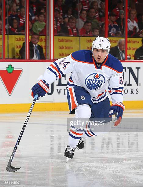 Nail Yakupov of the Edmonton Oilers skates against the Ottawa Senators at Canadian Tire Centre on October 19 2013 in Ottawa Ontario Canada
