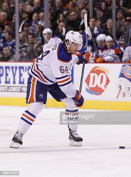 Nail Yakupov of the Edmonton Oilers skates against the Vancouver Canucks during their NHL game at Rogers Arena on January 27 2014 in Vancouver...