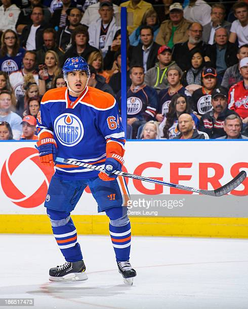 Nail Yakupov of the Edmonton Oilers skates against the Washington Capitals during an NHL game at Rexall Place on October 24 2013 in Edmonton Alberta...