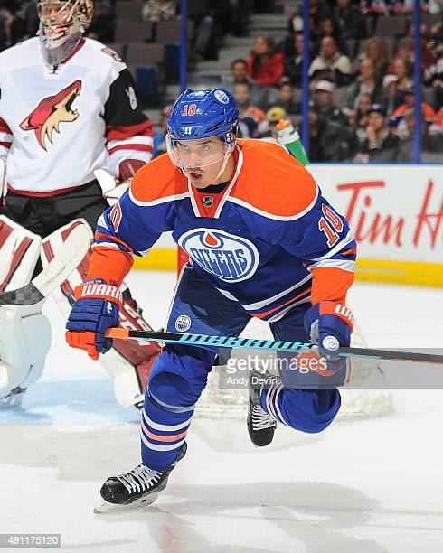 Nail Yakupov of the Edmonton Oilers skates during a preseason game against the Arizona Coyotes on September 29 2015 at Rexall Place in Edmonton...