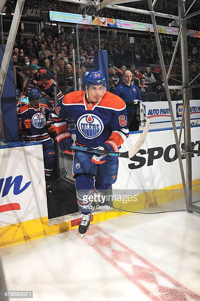 Nail Yakupov of the Edmonton Oilers steps onto the ice prior to a game against the New York Islanders on March 6 2014 at Rexall Place in Edmonton...