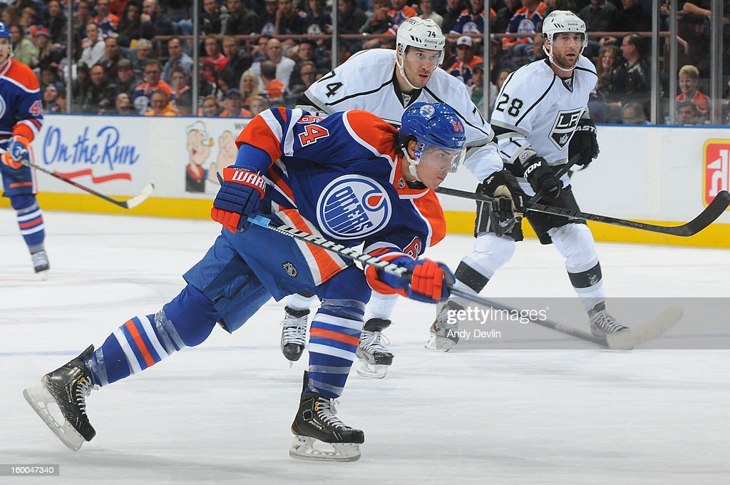 Nail Yakupov #64 of the Edmonton Oilers takes a shot on goal in a game against the Los Angeles Kings at Rexall Place on January 24, 2013 in Edmonton, Alberta, Canada.