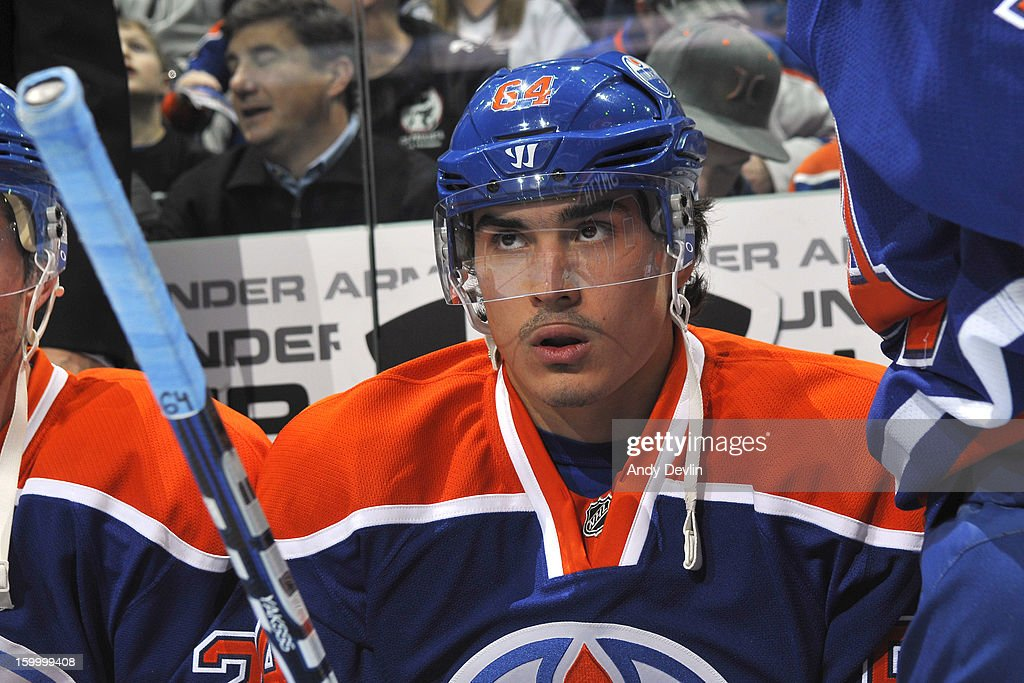 Nail Yakupov #64 of the Edmonton Oilers watches from the bench in a game against the Los Angeles Kings at Rexall Place on January 24, 2013 in Edmonton, Alberta, Canada.