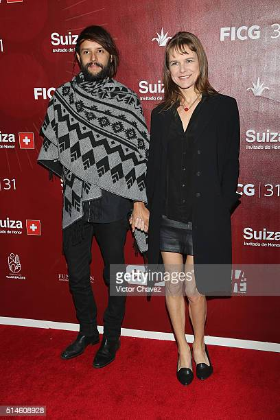 Nailea Norvind and guest attend the 'Canoa' red carpet during the Festival Internacional De Cine En Guadalajara FICG31 at Teatro Diana on March 9...
