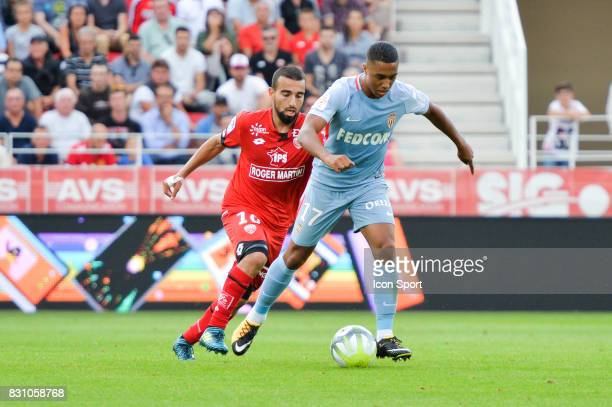 Naim Sliti of Dijon and Youri Tielemans of Monaco during the Ligue 1 match between Dijon FCO and AS Monaco at Stade Gaston Gerard on August 13 2017...