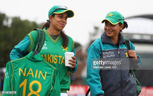 Nain Abidi and Sana Mir of Pakistan arrive ahead of the ICC Women's World Cup 2017 match between Pakistan and Sri Lanka at Grace Road on July 15 2017...