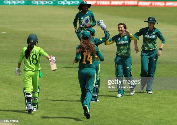Nain Abidi of Pakistan is stumped by Trisha Chetty of South Africa off the bowling of Sune Luus of South Africa during the ICC Women's World Cup...