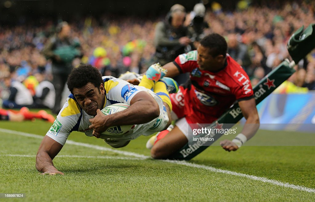Naipolioni Nalaga of ASM Clermont Auvergne scores the opening try during the Heineken Cup final match between Clermont Auvergne and RC Toulon at the Aviva Stadium on May 18, 2013 in Dublin, Ireland.