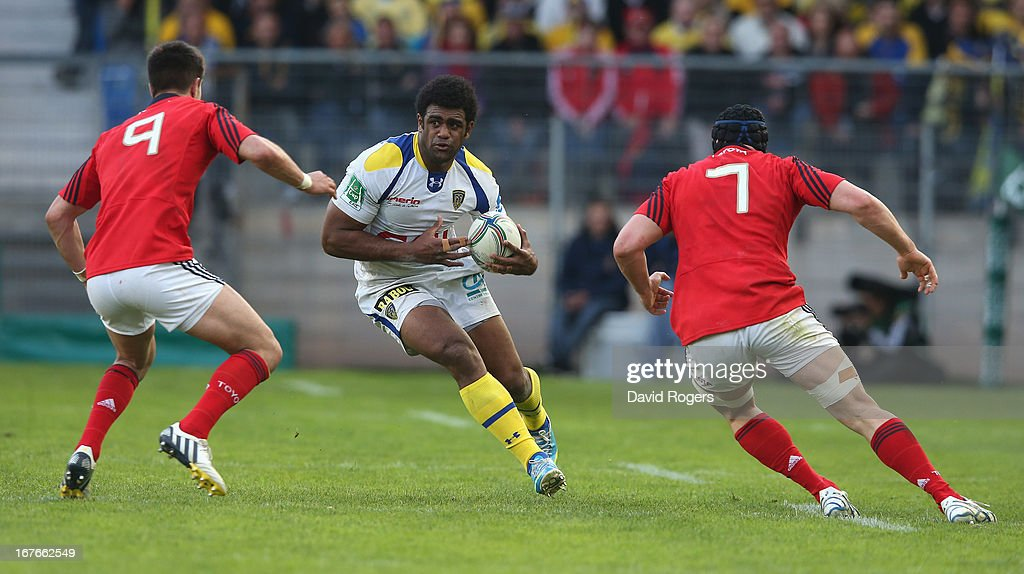 Naipolioni Nalaga of Clermont Auvergne charges upfield during the Heineken Cup semi final match between Clermont Auvergne and Munster at Stade de la Mosson on April 27, 2013 in Montpellier, France.