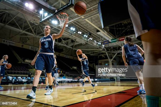 Naira Caceras a freshman guard for UMaine goes to grab her own rebound during shoot around at the Cross Insurance Arena before the start of the...