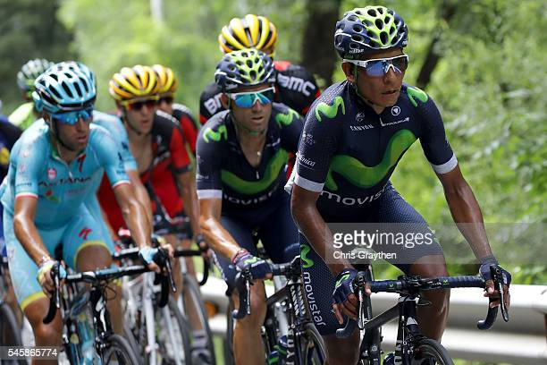Nairo Alexander Quintana of Colombia riding for Movistar Team rides in the peloton during stage nine of the 2016 Le Tour de France a 1845km stage...