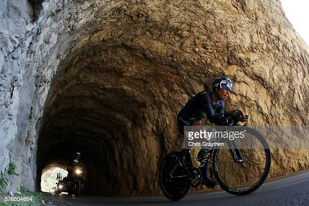 Nairo Alexander Quintana of Colombia riding for Movistar Team rides during the stage thirteen individual time trial a 375km stage from...