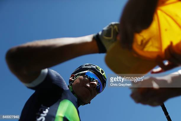 Nairo Alexander Quintana of Colombia riding for Movistar Team signs autographs prior to stage six of the 2016 Le Tour de France a 1905km stage from...