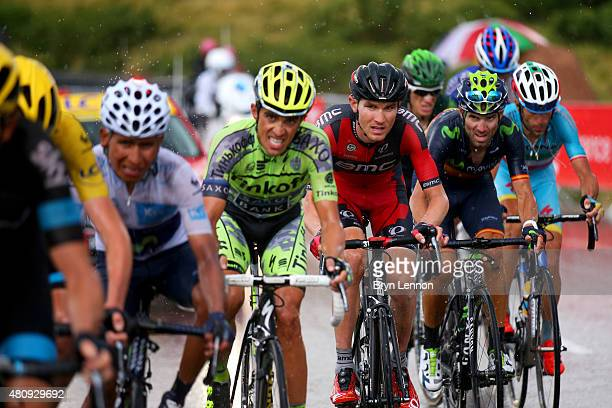 Nairo Alexander Quintana Rojas of Colombia and Movistar Team Alberto Contador of Spain and TinkoffSaxo Tejay van Garderen of the United States and...