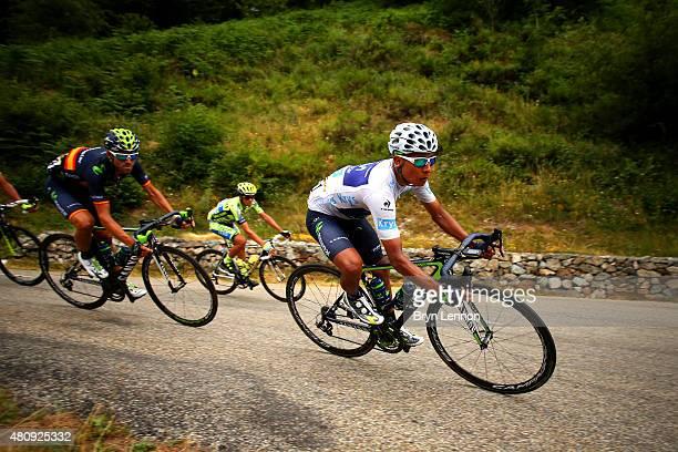 Nairo Alexander Quintana Rojas of Colombia and Movistar Team rides next to Alejandro Valverde Belmonte of Spain and Movistar Team and Alberto...