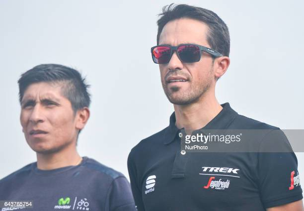 Nairo Quintana from Movistar and Alberto Contador from TrekSegafredo at the Abu Dhabi Tour 2017 Top Riders photocall outside the Yas Viceroy Abu...