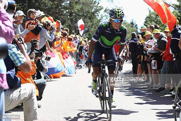 Nairo Quintana of Colombia and Movistar during the climb to Mont Ventoux during the 12th stage of Le Tour de France from Montpellier to Mont Ventoux...