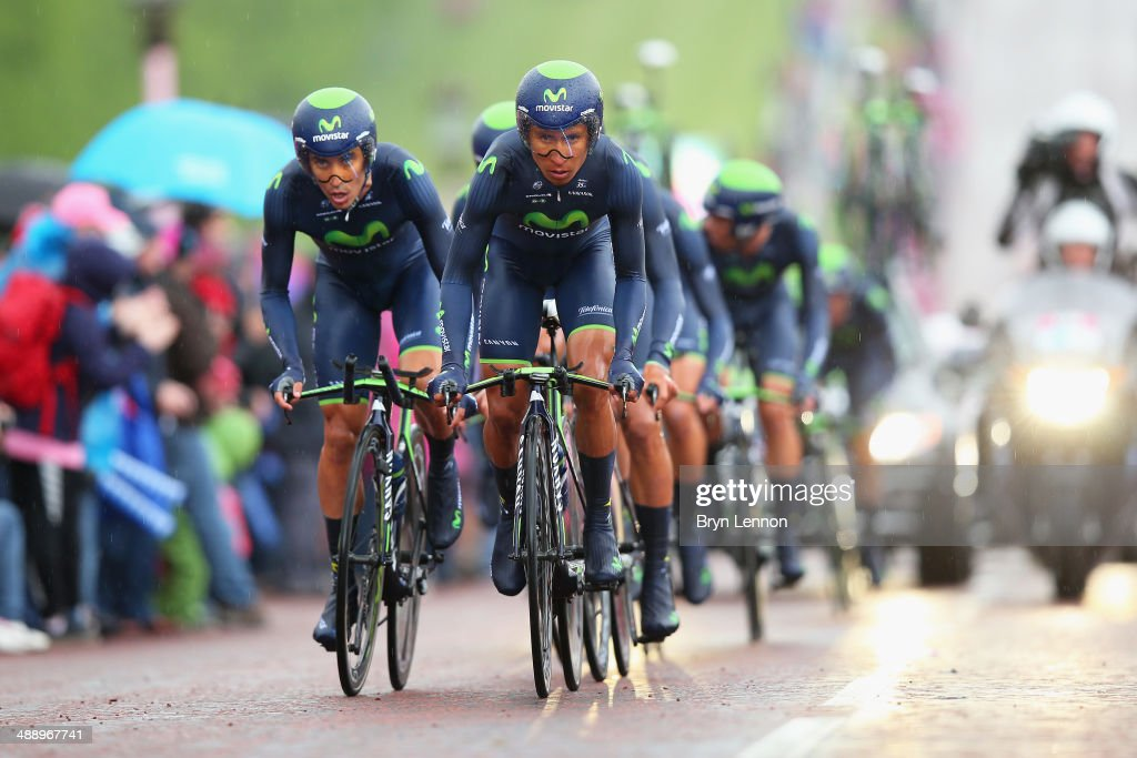 <a gi-track='captionPersonalityLinkClicked' href=/galleries/search?phrase=Nairo+Quintana&family=editorial&specificpeople=8831308 ng-click='$event.stopPropagation()'>Nairo Quintana</a> of Colombia and Movistar in action during the first stage of the 2014 Giro d'Italia, a 21km Team Time Trial stage at the Stormont Estate on May 9, 2014 in Belfast, Northern Ireland.