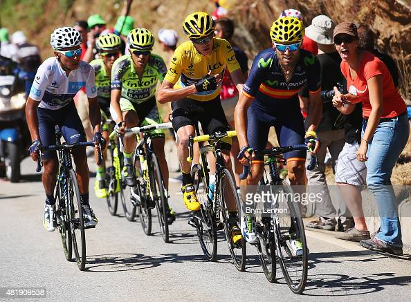 Nairo Quintana of Colombia and Movistar Team Alberto Contador of Spain and TinkoffSaxo Chris Froome of Great Britain and Team Sky and Alejandro...