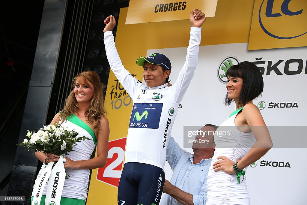 Nairo Quintana of Colombia and Movistar Team keeps the best youger's white jersey after stage seventeen of the 2013 Tour de France, a 32KM Individual Time Trial from Embrun to Chorges, on July 17, 2013 in Chorges, France.