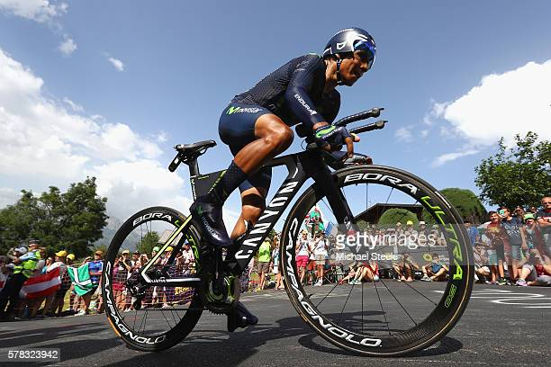 Nairo Quintana of Colombia and Movistar Team rides during stage eighteen of the 2016 Le Tour de France from Sallanches to Megeve on July 21 2016 in...