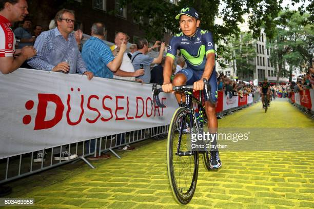 Nairo Quintana of Colombia and Movistar Team rides during the team presentation for the 2017 Le Tour de France on June 29 2017 in Duesseldorf Germany