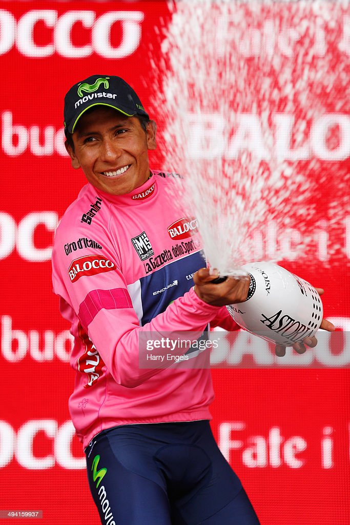 <a gi-track='captionPersonalityLinkClicked' href=/galleries/search?phrase=Nairo+Quintana&family=editorial&specificpeople=8831308 ng-click='$event.stopPropagation()'>Nairo Quintana</a> of Colombia and team Movistar celebrates retaining the Maglia Rosa leader's jersey following the seventeenth stage of the 2014 Giro d'Italia, a 208km stage between Sarnonico and Vittorio Veneto on May 28, 2014 in Vittorio Veneto, Italy.