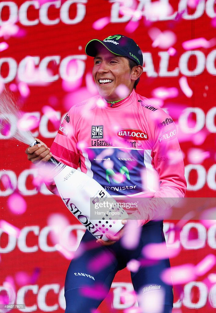 <a gi-track='captionPersonalityLinkClicked' href=/galleries/search?phrase=Nairo+Quintana&family=editorial&specificpeople=8831308 ng-click='$event.stopPropagation()'>Nairo Quintana</a> of Colombia and team Movistar celebrates retaining the Maglia Rosa leader's jersey following the eighteenth stage of the 2014 Giro d'Italia, a 171km high mountain stage between Belluno and Valsugana on May 29, 2014 in Belluno, Italy.