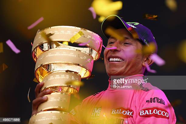 Nairo Quintana of Colombia and the Movistar Team celebrates winning the 2014 Giro d'Italia a 172km stage between Gemona del Friuli and Trieste on...
