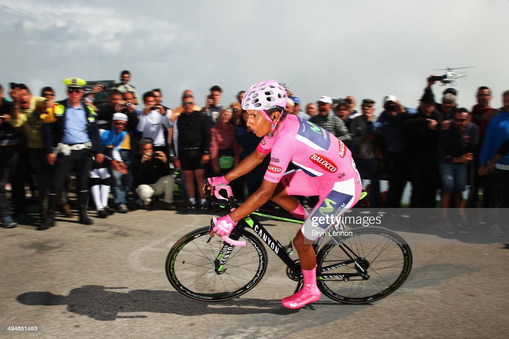 <a gi-track='captionPersonalityLinkClicked' href=/galleries/search?phrase=Nairo+Quintana&family=editorial&specificpeople=8831308 ng-click='$event.stopPropagation()'>Nairo Quintana</a> of Colombia and the Movistar Team in action on his way to winning the nineteenth stage of the 2014 Giro d'Italia, a 27km Individual Time Trial stage between Bassano del Grappa and Cima Grappa on May 30, 2014 in Bassano del Grappa, Italy.