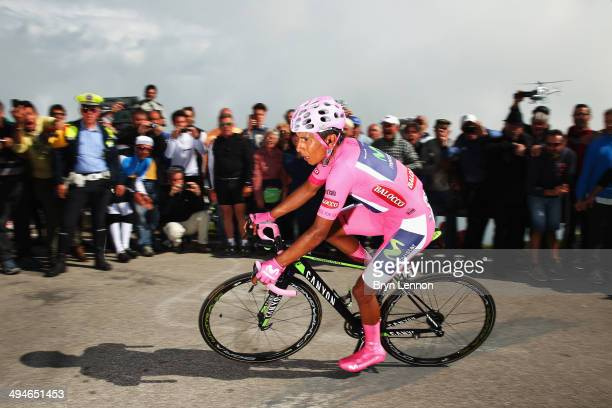 Nairo Quintana of Colombia and the Movistar Team in action on his way to winning the nineteenth stage of the 2014 Giro d'Italia a 27km Individual...