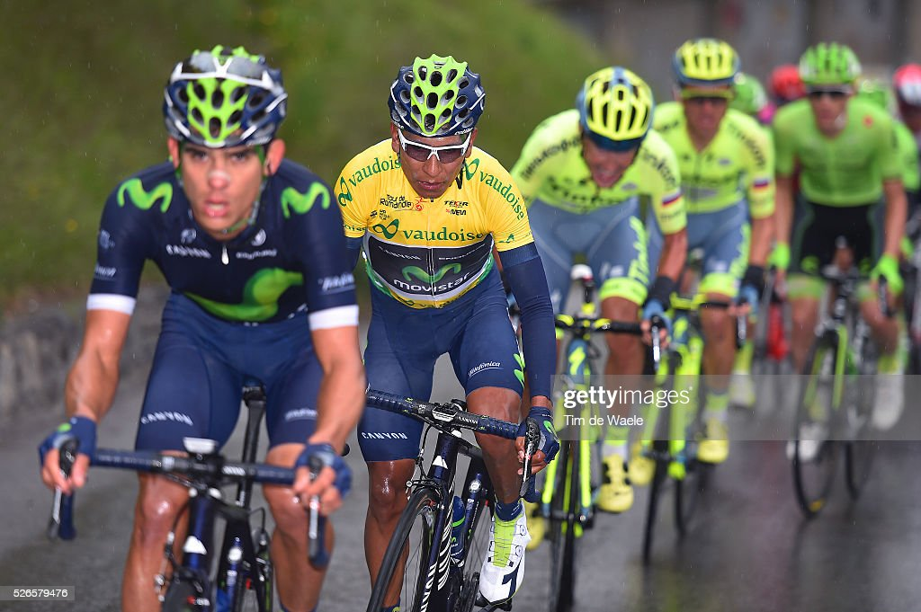 <a gi-track='captionPersonalityLinkClicked' href=/galleries/search?phrase=Nairo+Quintana&family=editorial&specificpeople=8831308 ng-click='$event.stopPropagation()'>Nairo Quintana</a> of Colombia in the leader's yellow jersey competes during stage 4 of the Tour de Romandie on April 30, 2016 in Villars-sur-Ollon, Switzerland.