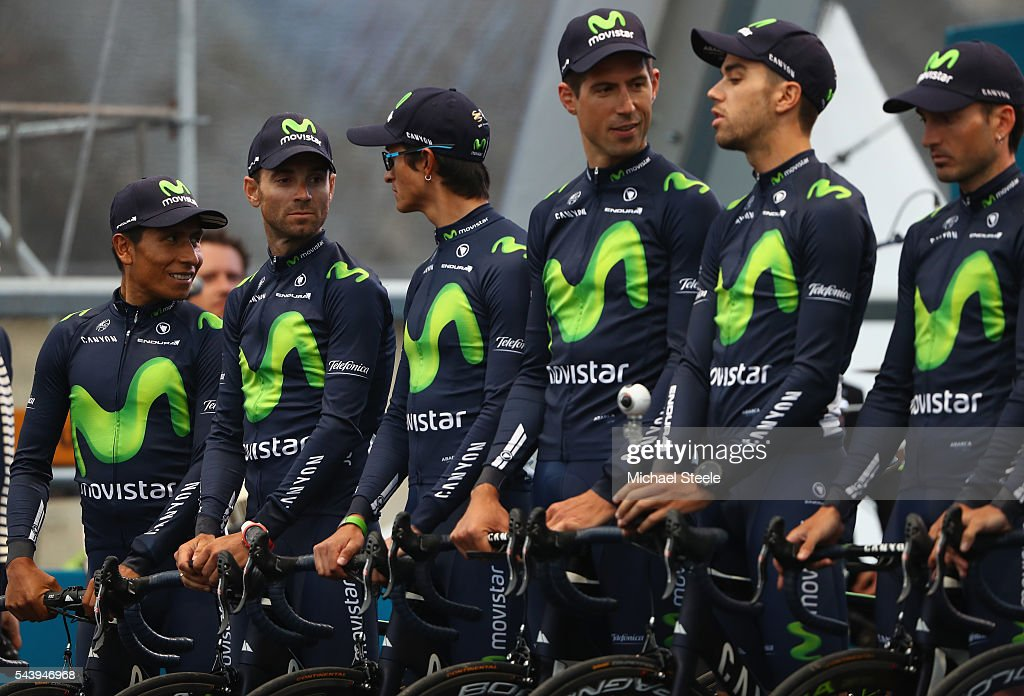 <a gi-track='captionPersonalityLinkClicked' href=/galleries/search?phrase=Nairo+Quintana&family=editorial&specificpeople=8831308 ng-click='$event.stopPropagation()'>Nairo Quintana</a> (L) of Colombia lines up alongside his Movistar team during the team presentations on June 30, 2016 in Sainte-Mere-Eglise, France.