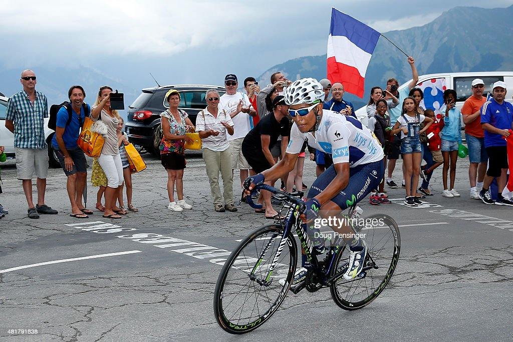 <a gi-track='captionPersonalityLinkClicked' href=/galleries/search?phrase=Nairo+Quintana&family=editorial&specificpeople=8831308 ng-click='$event.stopPropagation()'>Nairo Quintana</a> of Colombia riding for Movistar Team makes the climb to the finish and takes second place in stage 19 of the 2015 Tour de France from Saint-Jean-de-Maurienne to La Troussuire on July 24, 2015 in La Toussuire, France.