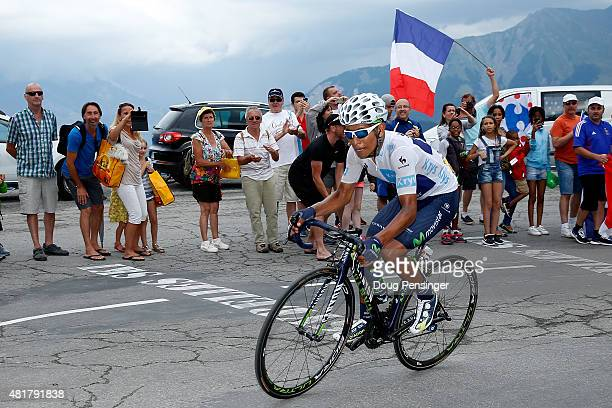 Nairo Quintana of Colombia riding for Movistar Team makes the climb to the finish and takes second place in stage 19 of the 2015 Tour de France from...