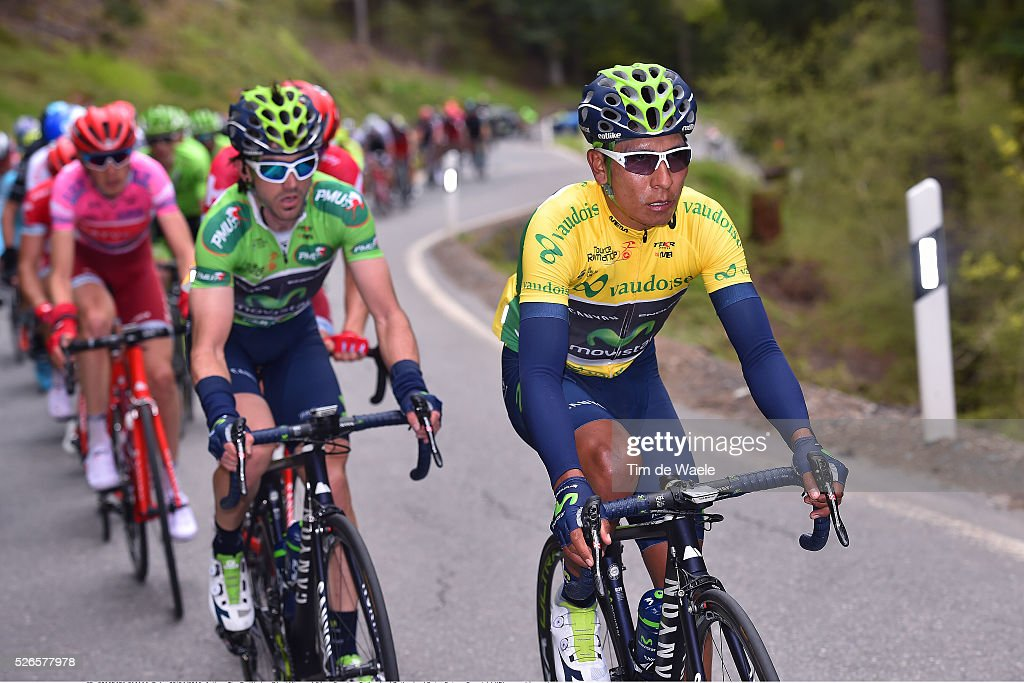 Nairo Quintana of Colombia Yellow leader Jersey, Gorka Izagirre of Spain Green Points Jersey, during stage 4 of the Tour de Romandie on April 30, 2016 in Villars-sur-Ollon, Switzerland.