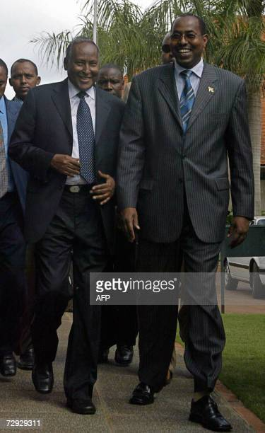 Somalia president Abdulahi Yusuf Ahmed and Kenya's Ambassador to Somalia Muhammed Affey arrive at the International Contact Group meeting on Somalia...