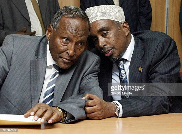 Somalian transitional government president Abdullahai Yusuf Ahmed confers with the parliament speaker Sharif Hassan Sheikh Adan 30 January 2006...