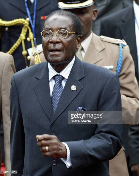Zimbabwean President Robert Mugabe arrives 22 May 2007 to attend the 12th twoday summit of the Common Market for Eastern and Southern Africa at UN...