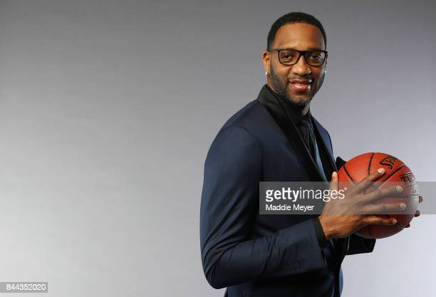 Naismith Memorial Basketball Hall of Fame Class of 2017 enshrinee Tracy McGrady poses for a portrait at the Naismith Memorial Basketball Hall of Fame...