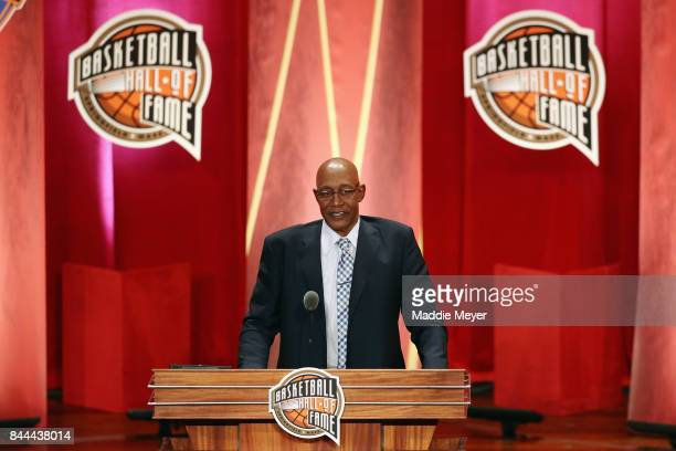 Naismith Memorial Basketball Hall of Fame Class of 2017 enshrinee George McGinnis speaks during the 2017 Basketball Hall of Fame Enshrinement...